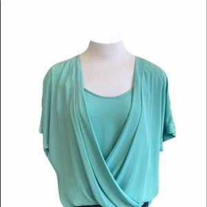 Mint green drape front Blouse